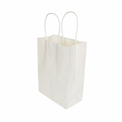 AZOWA Gift Bags White Kraft Paper Bags With Handles Party (White Loot Bags)