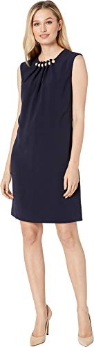 (Tahari by ASL Women's Cap Sleeve Sheath with Pearls and Gathered Detail Navy 14)