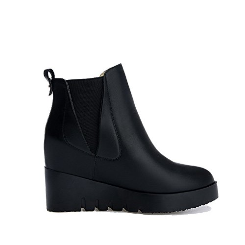 Allhqfashion Women's High-Heels Soft Material Low-top Solid Pull-on Boots Black J7BXuAqCs