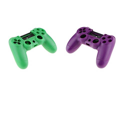 Homyl 2 Pieces Comfortable and Anti-slipped Plastic Front Rear Protective Cover Shell Case Skin - Perfectly Fit for Sony PS4 Controller -Green and (Rear Detailed Notes)