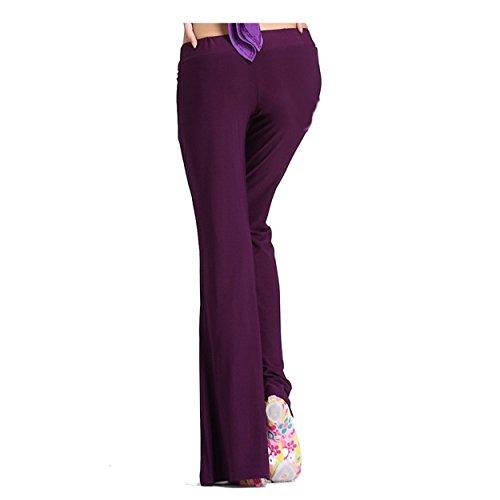 Womens Ladies Dance Pantalón Elastic Trousers Dancewear Dance Clothes Leggings Fishtail Pantalón Dark Purple