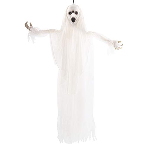 Halloween Haunters Animated 5 Foot Hanging White Screaming Ghost with Strobing Light & Voice Prop Decoration - Zombie Ghoul Face - Haunted House Graveyard Entryway Display -