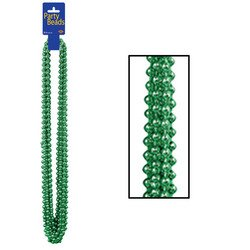 Party Beads - Small Round (green) Party Accessory  (1 count) (Green Mardi Gras Beads)