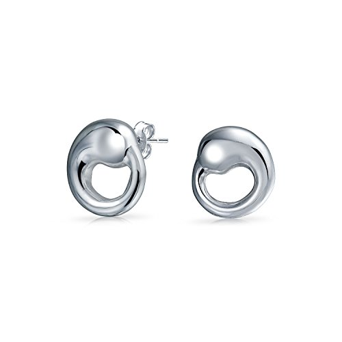 Bling Jewelry Eternal Circle Stud earrings 925 Sterling Silver 10mm