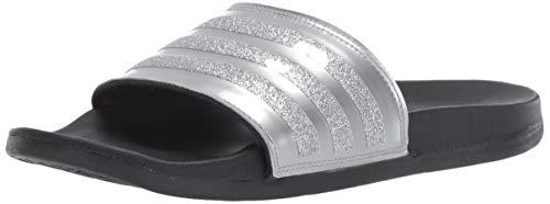 adidas Women's Adilette Comfort, Silver Metallic/Black, 11 M US