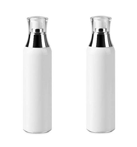 2PCS White Refill Empty Acrylic Airless Pump Vacuum Bottle Jars Makeup Eye Cream Lotion Emulsion Toiletries Liquid Storage Containers Cosmetic Travel Packing Dispenser(120ml/4oz)