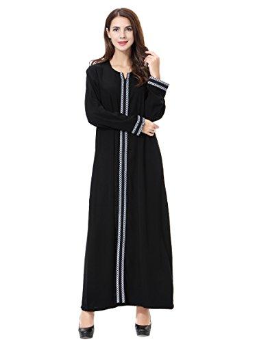 M/&S/&W Womens Islamic Long Sleeve Open Front Lace Trim Cardigan Muslim