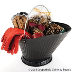 (Chimney 47144 Woodfield Coal Hod Sampler With Golves. Contains Magical Color Cones Pine Cone Fire Starters Southern Fatwood and 13 Inch Woodburner Fts Red Leather Gloves)