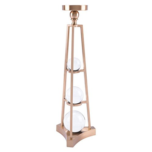 Zuo Candle Holder with Orbs Large Antique Brass