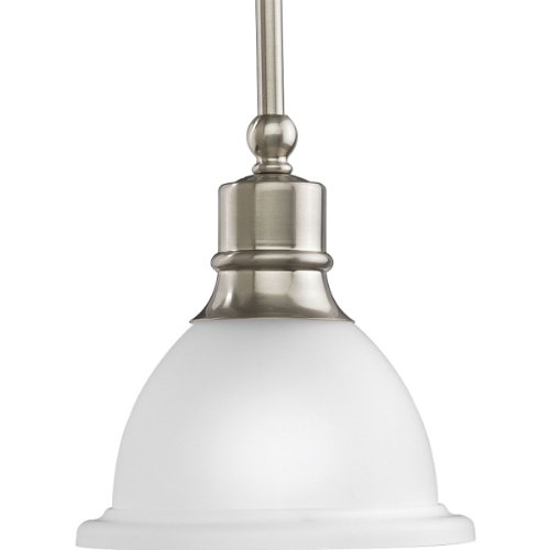 Progress Lighting P5078-09 1-Light Stem-Hung Mini-Pendant with White Etched Glass, Brushed Nickel - Brushed Nickel 100w Stem
