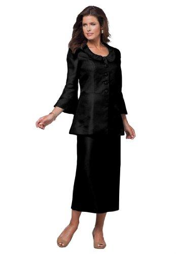 Roamans Women's Plus Size Flattering Tiered Sleeve Skirt Suit