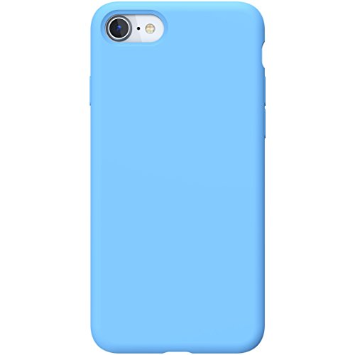 PowerBear iPhone 7 Case/iPhone 8 Case | Slim Soft Touch Liquid Silicone Gel Rubber Case | Shock Absorption Anti Scratch Finish The Apple iPhone 7/8 - Light Blue [24 Month Warranty] ()