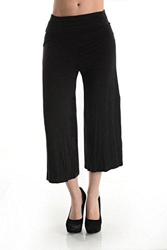 Noble U Women's Palazzo Capri Gaucho Pants (3XL, BLACK) (Black Gaucho Pants compare prices)