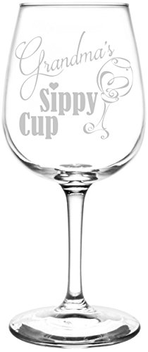 Grandma's Sippy Cup Engraved WIne Glass