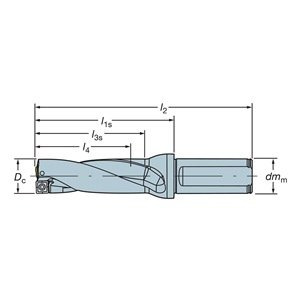 "Sandvik Coromant A880-D0625LX19-03 Corodrill 880 Indexable Insert Drill, A880.LXxx-03 Tool Style Code, 0.75"" Shank, 0.75"" Shank Diameter"