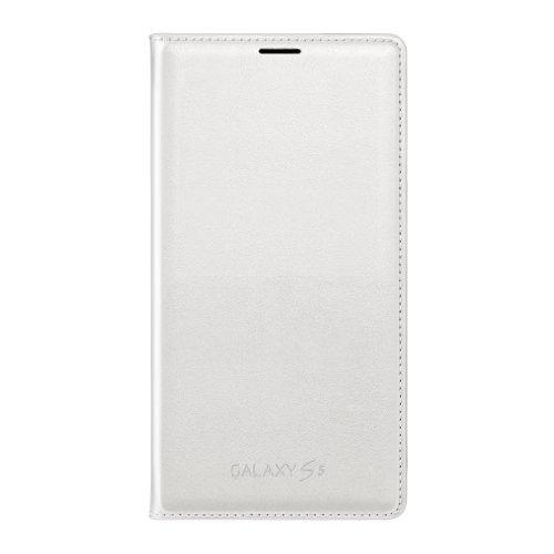 Samsung Galaxy S5 Case Flip Cover Wallet Folio, White (S5 Wallet Flip Galaxy Case)
