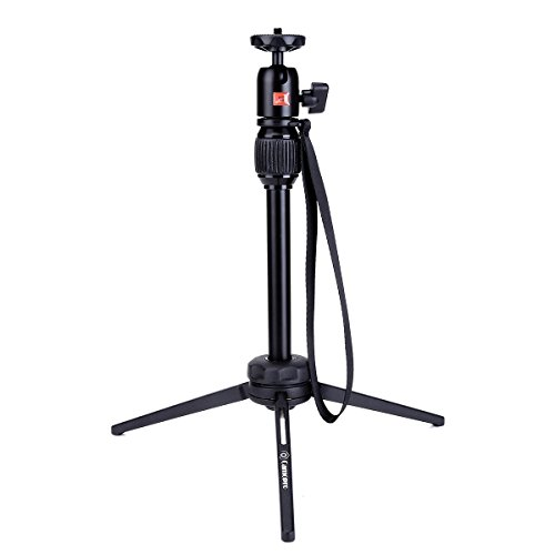 Phone Tripod - Camopro 15.7 Inches Aluminum Alloy Handheld Tabletop Tripod with Swivel Ball Head for iPhone, Android Phone, DSLR, SLR Camera, Sports Camera GoPro - Desktop (Desktop Tripod)