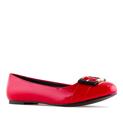 Sizes Buckled in Patent Large AM5301 Patent Ballet Flats Red Suede Faux Leather Machado Andres FEKSqOBvPA