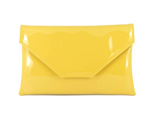 - Loni Womens Stylish Large Envelope Patent Clutch Bag/Shoulder Bag Wedding Party Prom Bag