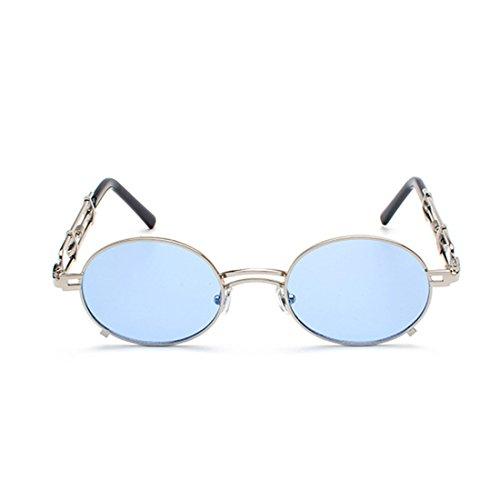 Lunettes de Miroir soleil Soleil Cadre Lunettes de Hommes Revêtu Bleu Ronde Lunettes et Tone MUCHAO Femmes Métallique Lunettes 1w5xBS8q8