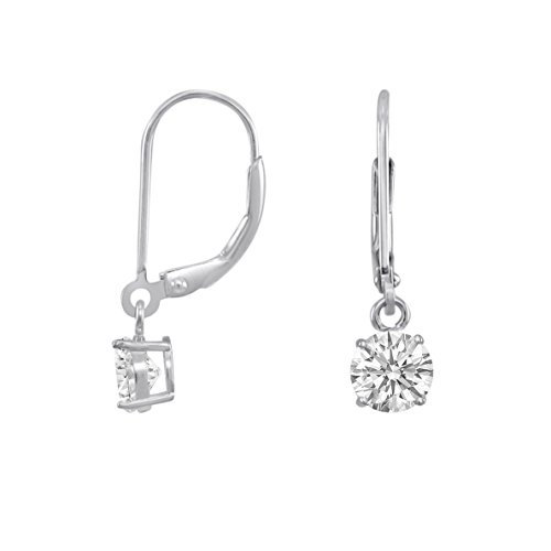 Rhodium Plated Sterling Silver Basket Setting 5mm Brilliant Round White CZ Leverback Dangle Earrings