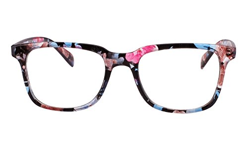 Agstum Wayfarer Plain Glasses Frame Eyeglasses Clear Lens (Blue flowers, - Glasses Frames Flower