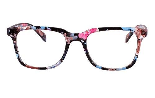 Agstum Wayfarer Plain Glasses Frame Eyeglasses Clear Lens (Blue flowers, - Women Blue Eyeglasses For