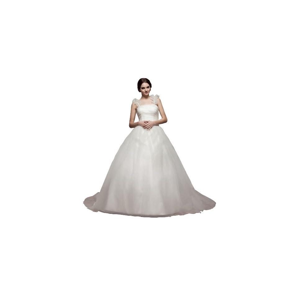 herafa w35764 2 Wedding Dress Elegant Spaghetti Strap Sleeveless Ruched Long 0 Princess White
