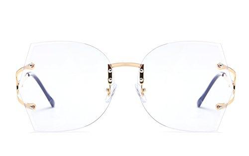 JOJO'S SECRET Oversized Rimless Sunglasses,Gradient Clear Lens Brand Designer Sunglasses JS019 (Gold/Clear, 2.56)