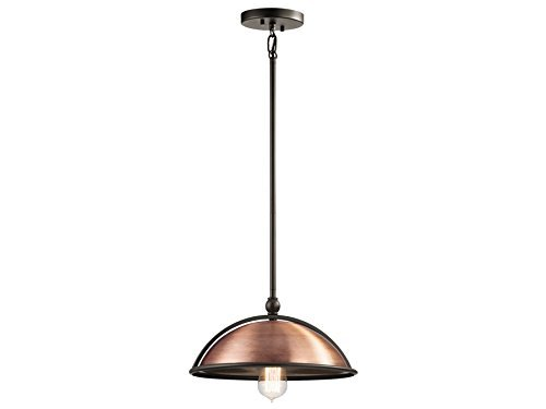Kichler 42782ACO Sepia 1-Light Pendant, Antique Copper Finish by (Sepia Finish)