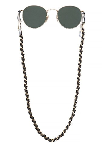 Sintillia Boho Braid Sunglass Strap, Glasses Chain, Eyeglass Cord, Black with Black Attachments from Sintillia