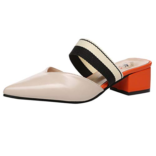 (Womens Low Block Heeled Mules Closed Pointed Toe Elastic Ankle Strap Contoured Footbed Slides Sandal Beige)