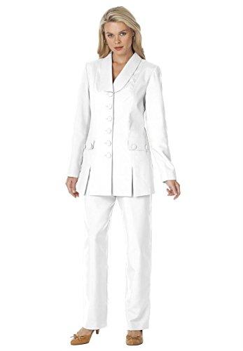 Roamans Women's Plus Size 10-Button Pantsuit (White,14 W)