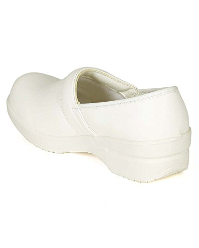 Refresh Women Leatherette Round Toe Slip On Clog BH36 - White (Size: 8.0) by Refresh (Image #2)'
