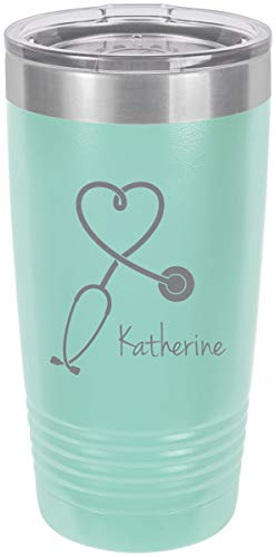 (Stethoscope Nurse Personalized Add Your Custom Text Insulated Tumbler 20 Oz Travel Coffee Mug Customizable (Teal))