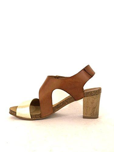 Sandalias tacón medio CC942de piel azul cuero negro correa mainapps cuero