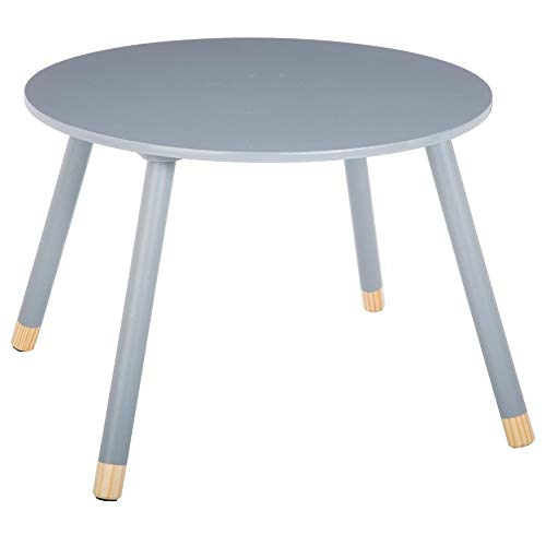 Mesa redonda de madera para ninos, color gris