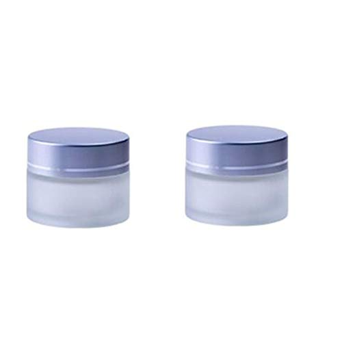 2PCS 20ML 0.7OZ Empty Frosted Glass Cream Box with Aluminum Lid and Inner Cover Face Eye Cream Holder Makeup Case Trial Sample Box Refillable Durable Cosmetic Container Jar for Travel Daily Life