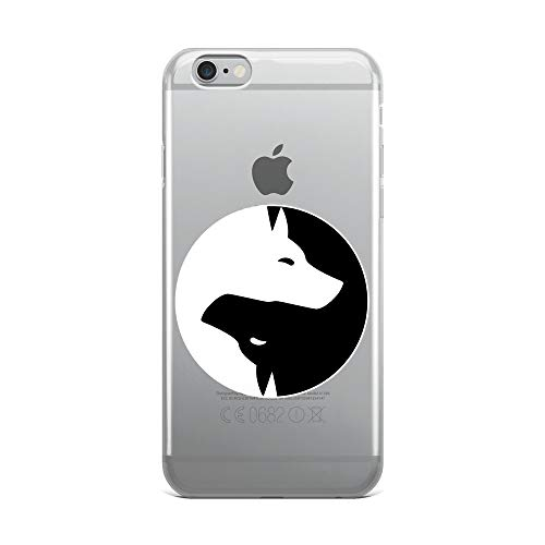 iPhone 6 Plus/6s Plus Pure Clear Case Crystal Clear Cases Cover Cool Yin Yang Dog Cute Labrador White Ink Transparent (Nyan Ca)