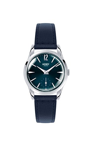 (Henry London Ladies Knightsbridge Watch with Analogue Display and Blue Leather Strap)