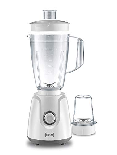 Black+Decker 400W Blender With Grinder Mill, White - BX4030-B5, 2 Years Warranty