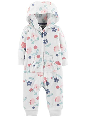 The William Carter Company. Baby Girls Hooded Long Sleeve One-Piece Fleece Jumpsuit, Assorted (White & Multi-Color Floral, 9 Months)