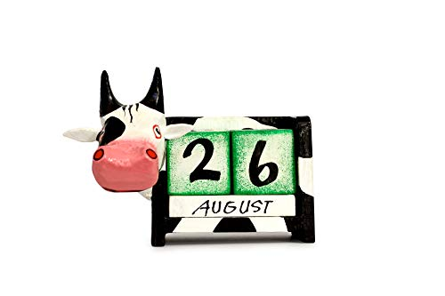 G6 Collection Wooden Cow Perpetual Calendar Desktop Handmade Unique Removable Blocks Decorative Accessory Desk Accessories Handcrafted Hand Carved Decoration Forever Never Ending Calendar Decor