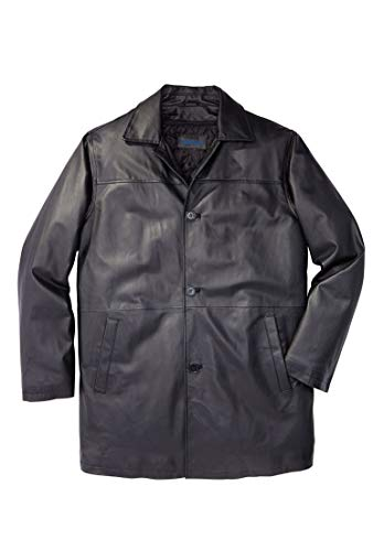 (KingSize Men's Big & Tall Leather Car Coat, Black Tall-XL)