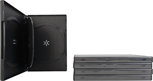 (SquareDealOnline - DV4R14BKWT - Standard 14mm DVD Cases - 4 Disc Capacity - Black - (5 Pack))