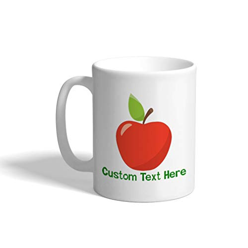 - Custom Funny Coffee Mug Coffee Cup Red Apple White Ceramic Tea Cup 11 Ounces Personalized Text Here