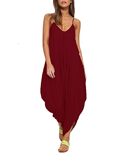Auxo Women Jumper Harem Jumpsuit V Neck Summer Romper One Piece Jumpsuit Playsuit Wine Red US 4/Asian - Sleeveless Jumper