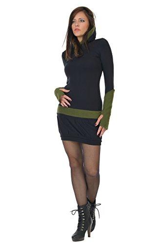 Gotico streetwear casual abito pile Nero cappuccio 3Elfen abiti con con Verde donna dqgxwF
