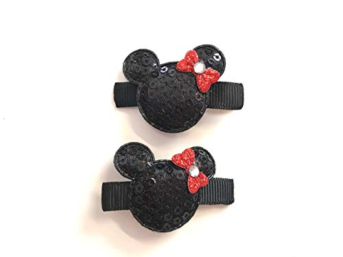 Minnie Mouse Hair Clips Disney Minnie Mouse Set of 2 Clips Sequin Mouse -