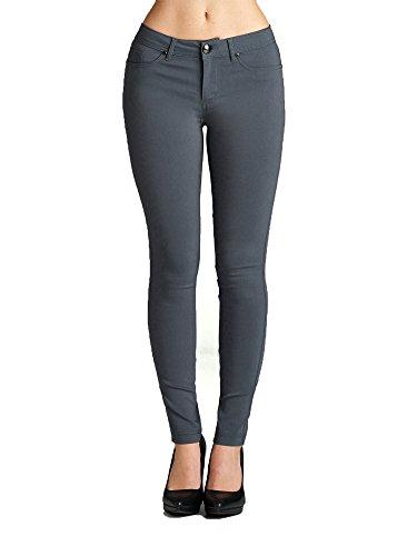 Skinny Tights - Emmalise Women's Basic Jean Look Jeggings Tights Spandex Skinny Leggings - Charcoal, 2XL